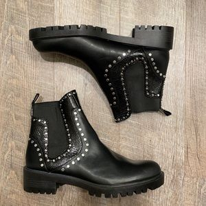 Zara Black  Vegan leather short studded ankle boot with lugged sole size 42
